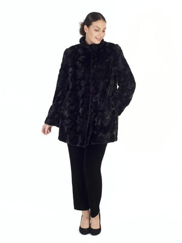 Black Faux Fur Swing Coat