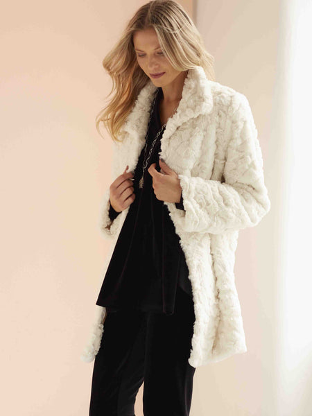 Cream Faux Fur Swing Coat