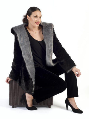 Black/Silver Hooded Contrast Trim Faux Fur Coat