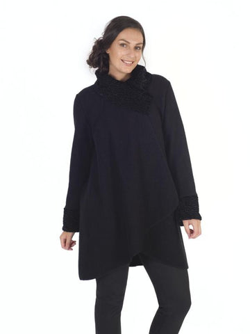 Black  Coat with Faux Astrakhan collar and cuffs