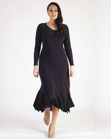 Dark Purple Tulip Curved Panel Long Sleeve Jersey Dress