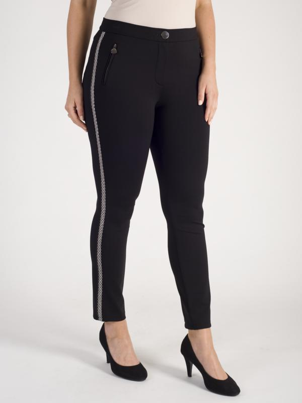 Gerry Weber Black Stretch Trouser with Side Stripe Detail