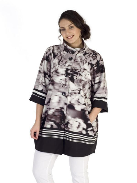 Black/Ivory Stripe Border muted Floral Coat
