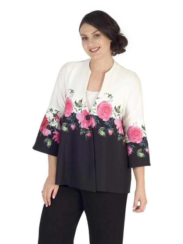 Ivory/Black Pink Rose Border Detail Jacket