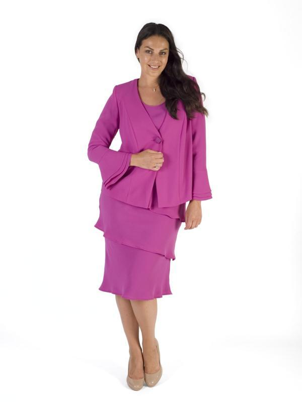 Magenta Flounce Cuff Detail Crepe Jacket