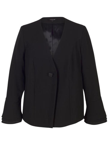 Black Flounce Cuff Detail Crepe Jacket