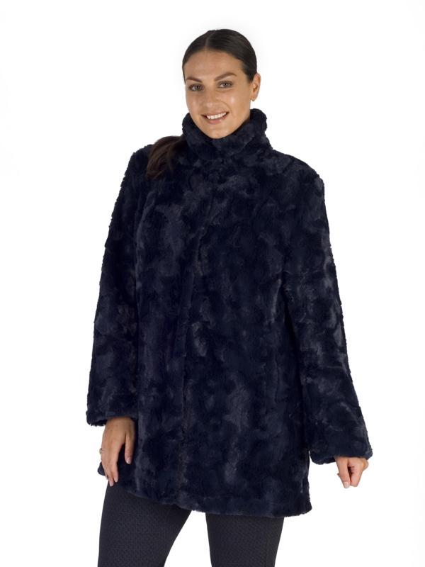 Navy Faux Fur Swing Coat