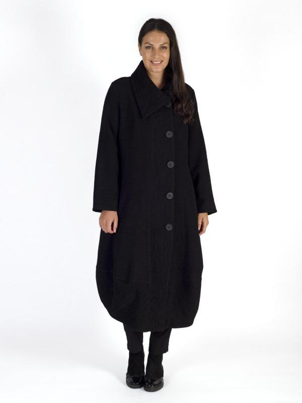 Black Wrap Collar Heavy Crinkle Barrel Coat
