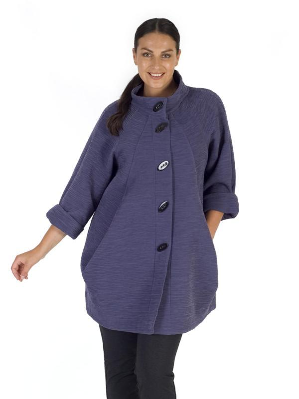 Hyacinth Stand Collar Heavy Crinkle Coat