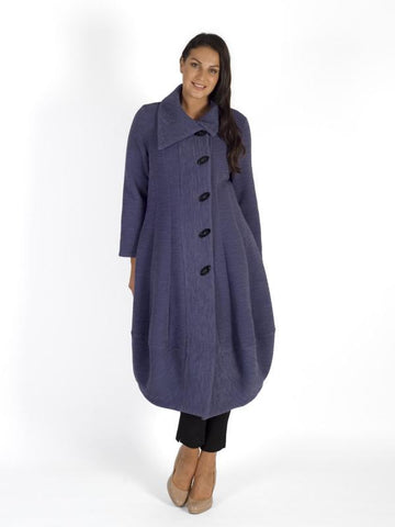 Hyacinth Wrap Collar Heavy Crinkle Barrel Coat