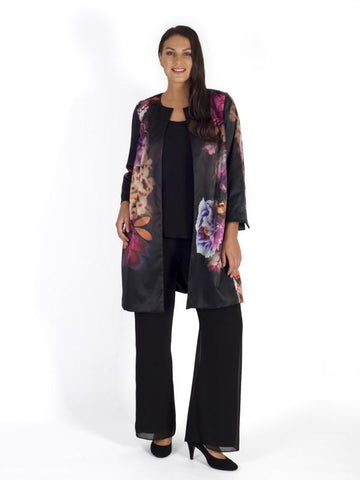 Blk/Pink Floral Placement Edge to Edge Lined Satin Coat