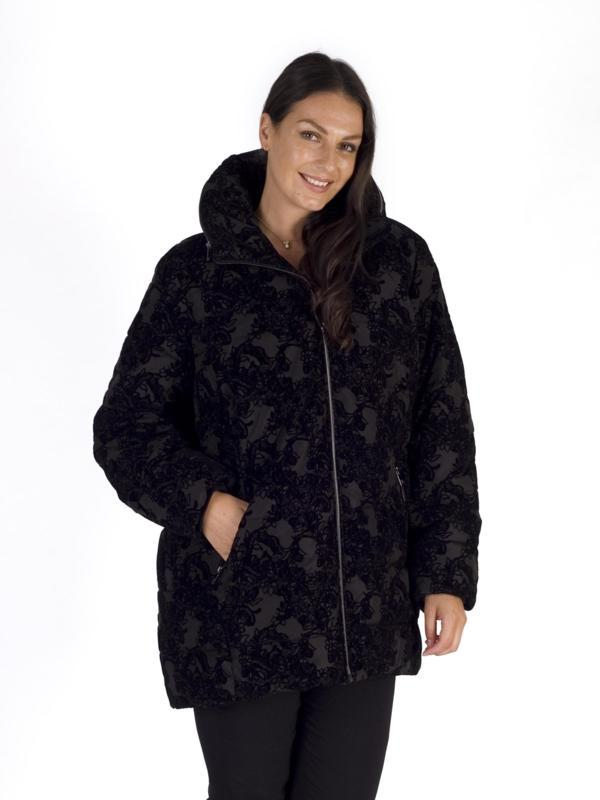 Black Flocked Padded Coat With Concealed Hood
