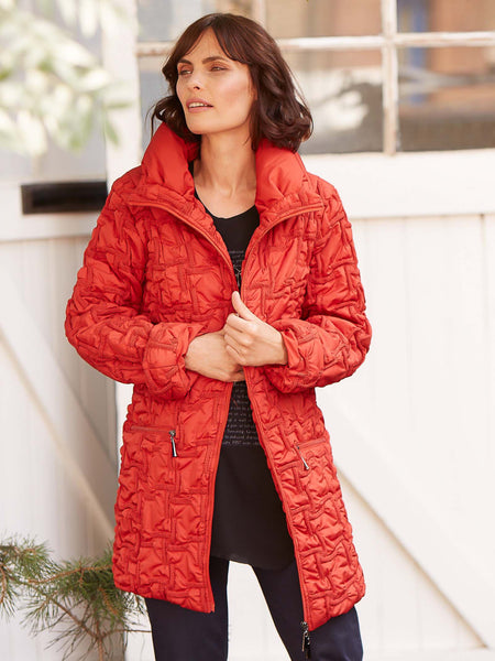 Burnt orange  Emb Quilt Hip-length Jacket