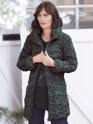 Forest Bonfire Emb Quilt Coat