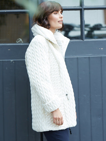 A Cream Cable Emb Quilt Coat