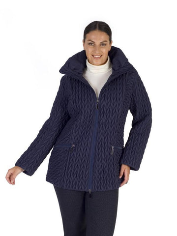 French Navy Cable Emb Quilt Coat