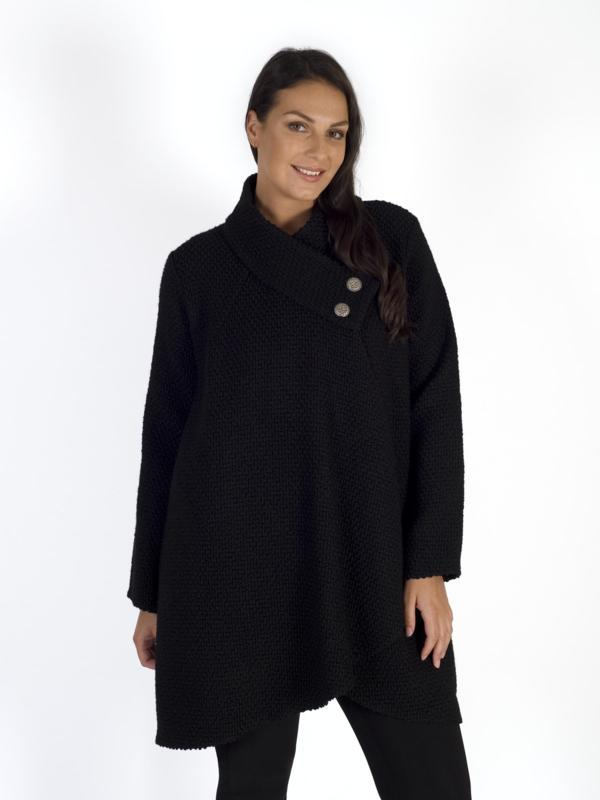 Black Deep Wrap Collar Basket Weave Coat