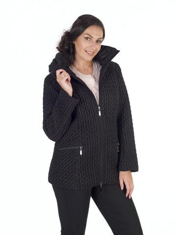 Black Cable Emb Quilt Coat