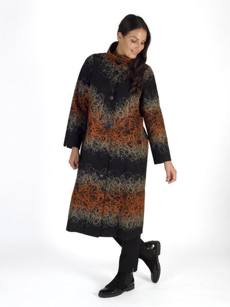Black/Orange/Grey Scribble Emb. Coat