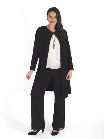 Black Suedette Crush Pleat Coat