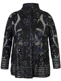 Navy Blossom Printed Leather Applique Patch Mesh Jacket
