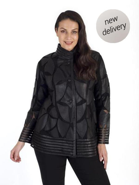 Black Leather Applique Patch Mesh Jacket