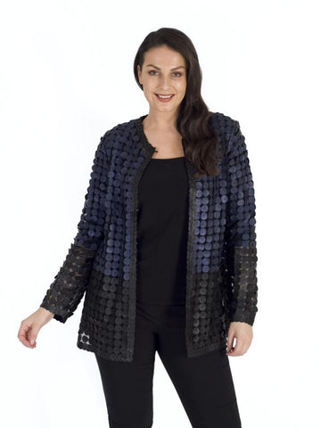 Navy/Blk Leather Mini Disc Applique Block Colour Mesh Jacket