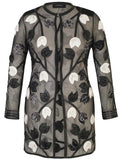 Blk/Ivory Leather Applique Rose Mesh Coat