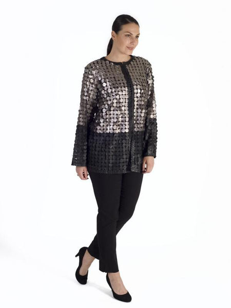 Leather Mini Disc Applique  silver/black Block Colour Mesh Jacket
