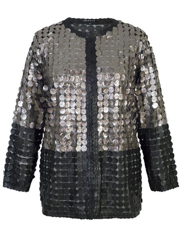 edbedfb89d9 Leather Mini Disc Applique silver black Block Colour Mesh jacket