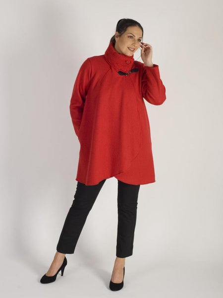 Ruby Cable Collar Clasp Detail Boiled Wool Coat