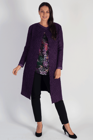 Grape Suedette Crush Pleat Coat