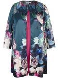 Green/Pink Floral Placement Edge to Edge Contrast Lined Satin Coat