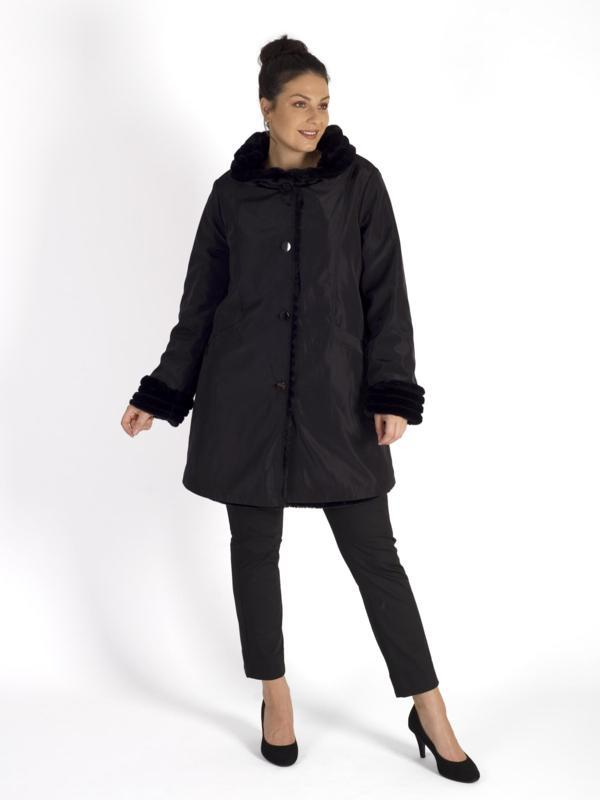 Black Faux Fur Lined Reversible Coat