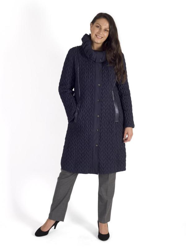 Navy Leatherette Trim Cable Emroidered Quilt Coat