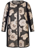 Black/Rose Gold Metallic Floral Jacquard Organza Coat with Contrast Satin Trim
