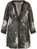 Black/Beige Floral Jacquard Organza Coat with Contrast Satin Trim
