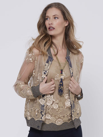 Marie Mero Sheer Embroidered Bomber Jacket