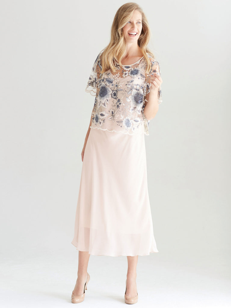 020343b7b2 Blush Contrast Sequin Embroidered overtop with chiffon Dress – Chesca