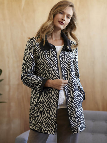 Basler Zebra Printed Reversible Raincoat
