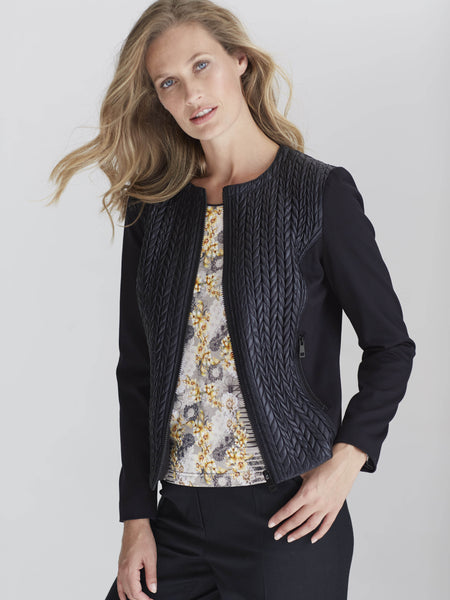 CONRAD C Black Quilted Panel Jacket