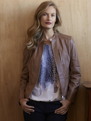 GERRY WEBER Caramel Leather Jacket