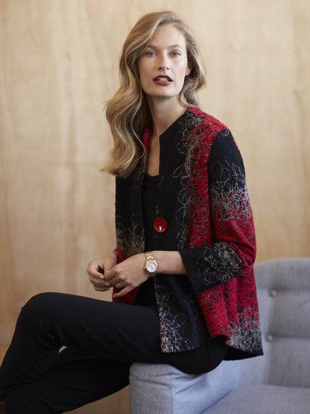 Joseph Ribkoff Red and Black Wool Jacket