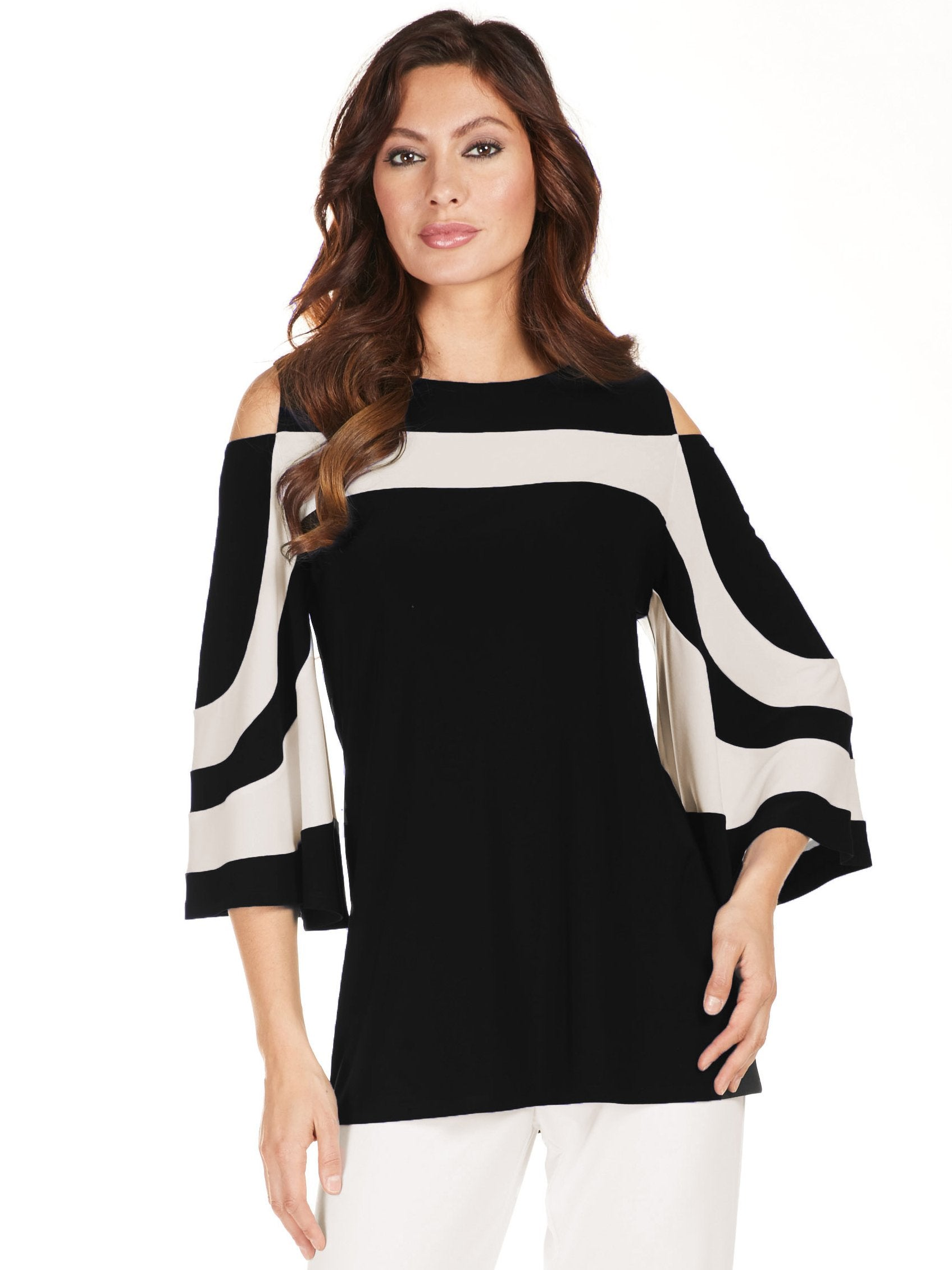 Frank Lyman Black/White Cold Shoulder Bell Sleeve Top