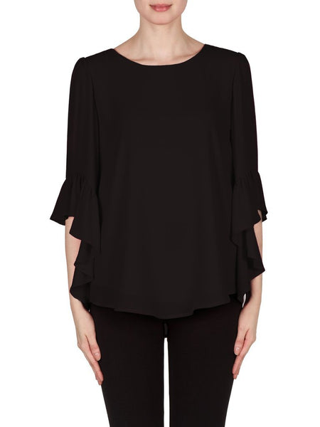 Joseph Ribkoff Black Top with Frilled Sleeve
