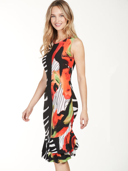 FRANK LYMAN Orange/Black/White Multi Print Sleeveless Dress with Fluted Hem