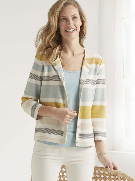 GERRY WEBER Aqua/Ecru/Yellow Stripe Cardigan with Lurex Highlights