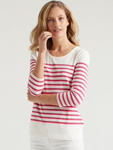Gerry Weber White/Pink Stripe Jersey ¾ Sleeve Top