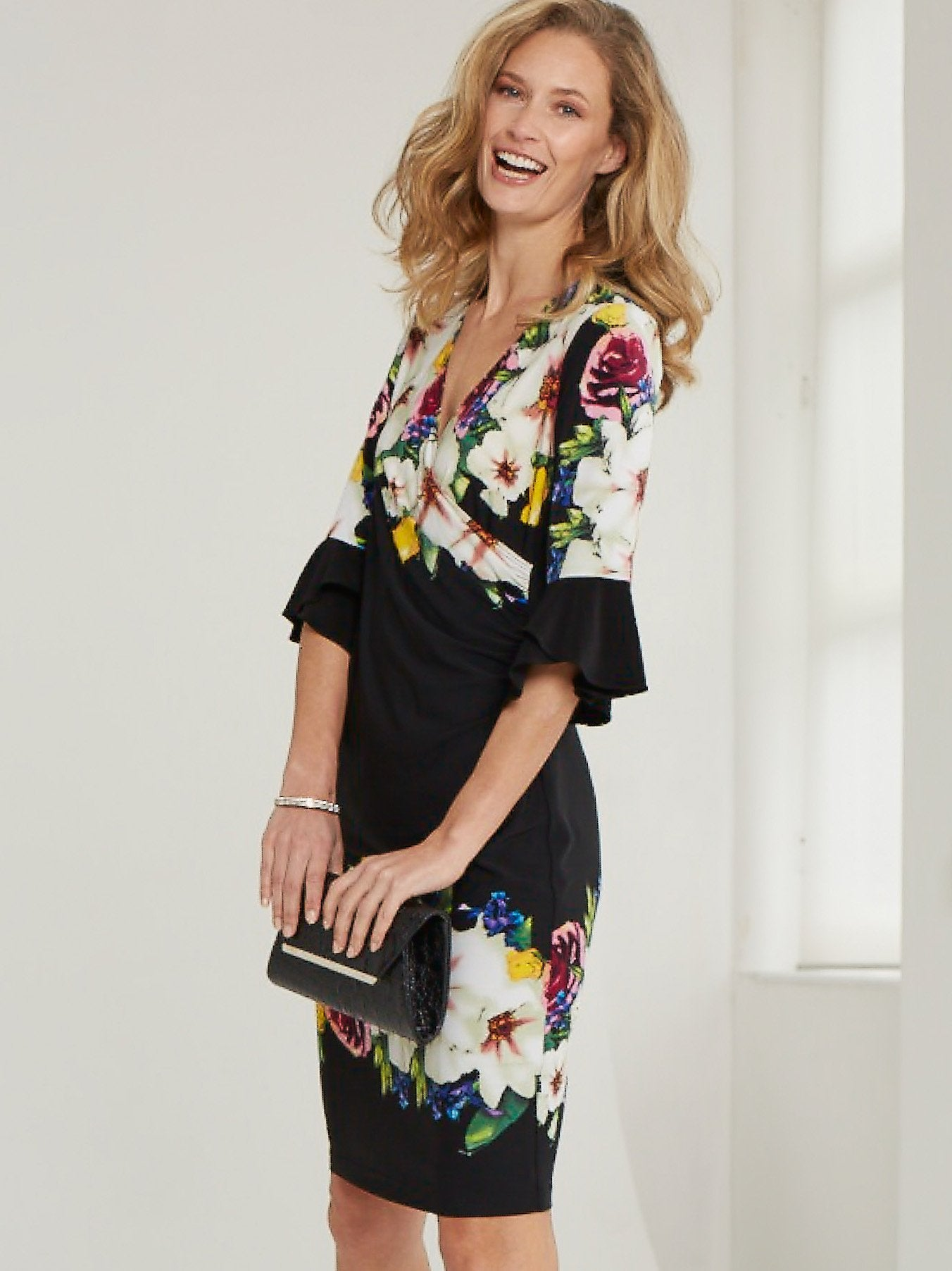 Joseph Ribkoff Black Multi Jersey Floral Print Wrap Dress