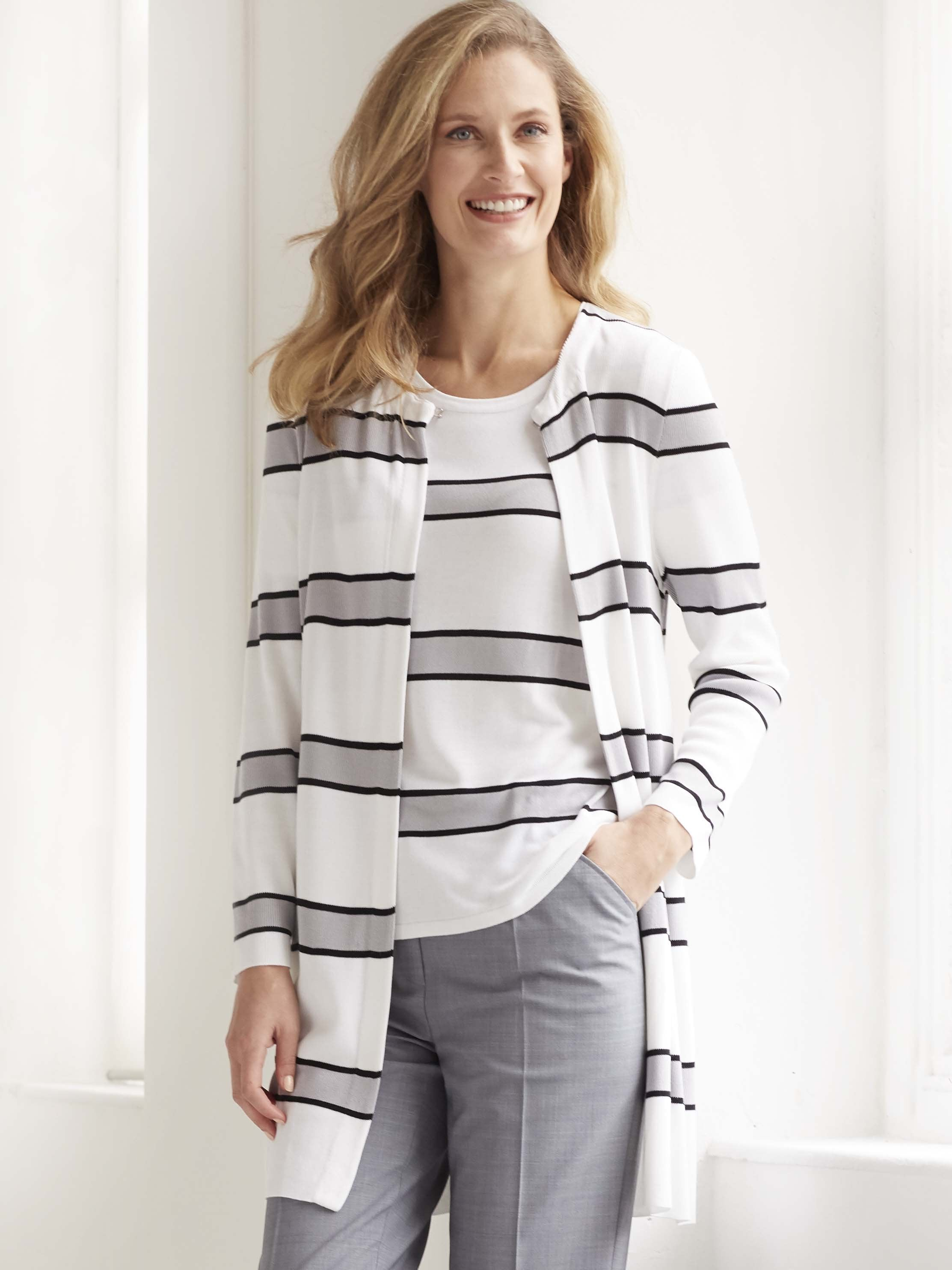 Passioni Grey/White Stripe Knit Longline Cardigan Twinset